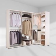 [장인가구]더크림 드레스룸 ㄱ자 2400x1200 기본형 (800옷장800정리장코너장400선반장)(메이플)