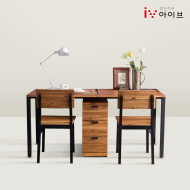 클로이 원목 1600 와이드 책상(서랍장+의자2)