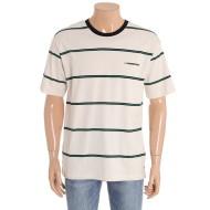 b1b07ffe5a9 ... 공용 5부 소매 면 스트라이프 티셔츠 10220-231-414-05