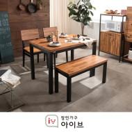 클로이블랙 원목 식탁세트(의자2+벤치1)