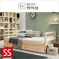로우 원목 데이베드형+서랍형 수퍼싱글 본넬스프링 매트리스 침대(SS)(워시화이트/네츄럴)