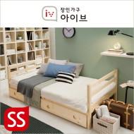 로우 원목 데이베드형+서랍형 수퍼싱글 독립스프링 매트리스 침대(SS)(워시화이트/네츄럴)