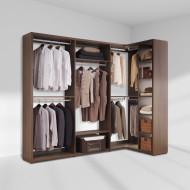 [장인가구]더크림 드레스룸 ㄱ자 2400x1200 기본형 (800옷장800정리장코너장400선반장)(월넛)