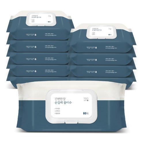 [데일리워터][데일리워터] 손걸레전용 물티슈 캡형 10팩/FDA승인 G.SOL함유
